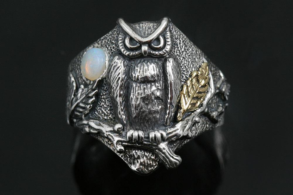Owl Under Opal Moon Sterling Silver Ring LR-137