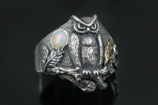 Owl Under Opal Moon Sterling Silver Ring LR-137
