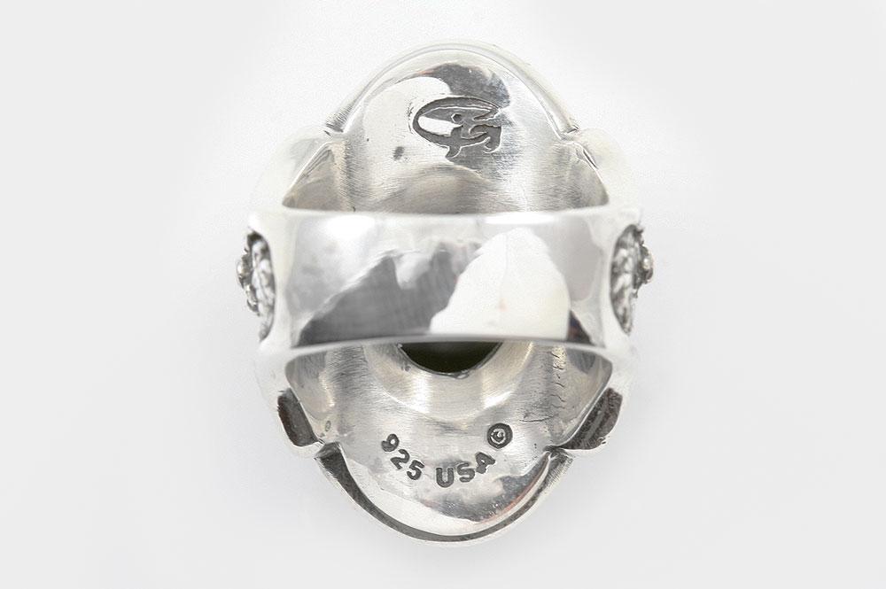 Ozidos Gothic Dragon Cabochon Onyx Oxidized Silver Ring LR-094