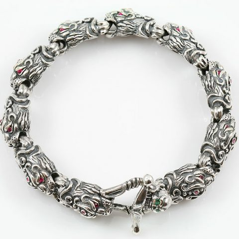 Panther Head Link Silver Bracelet With Skull Closure BR-028