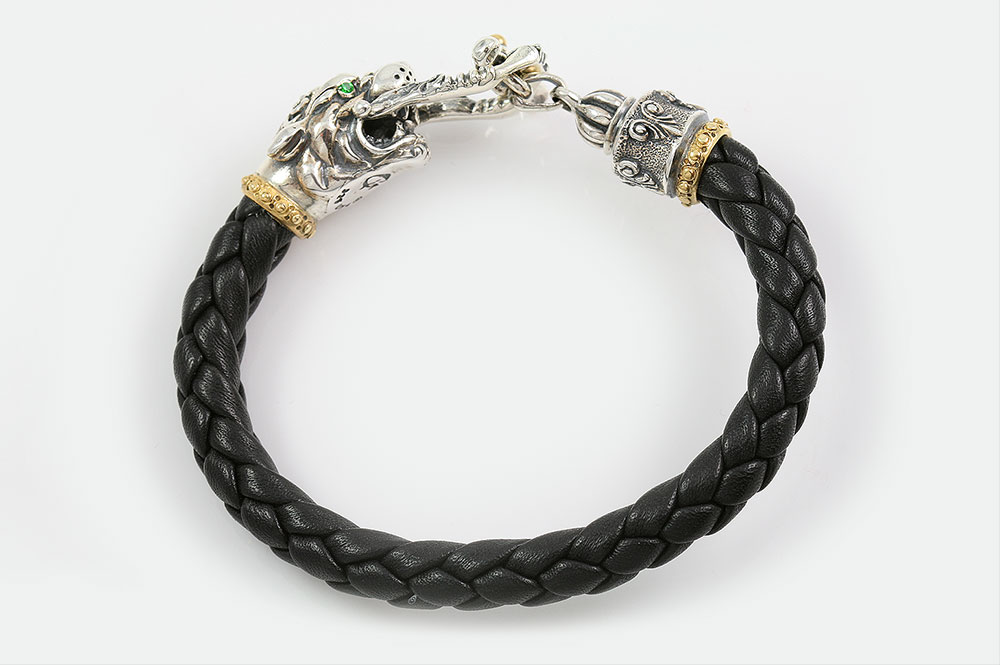 Pantheron Panther Head Leather Braided Silver Bracelet BR-044