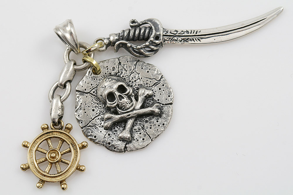 Pirate Skull & Bones Medallion with Sword & Ship Wheel Silver Pendant AT-188