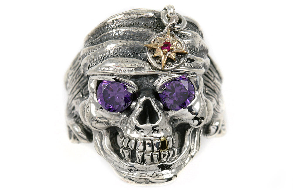 pirate skull color cz eyed silver ring mr 004l