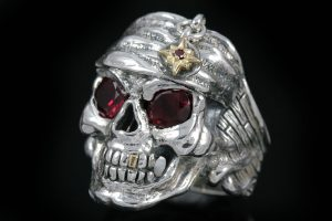 Pirate Skull Color CZ Eyed Silver Ring MR-004L