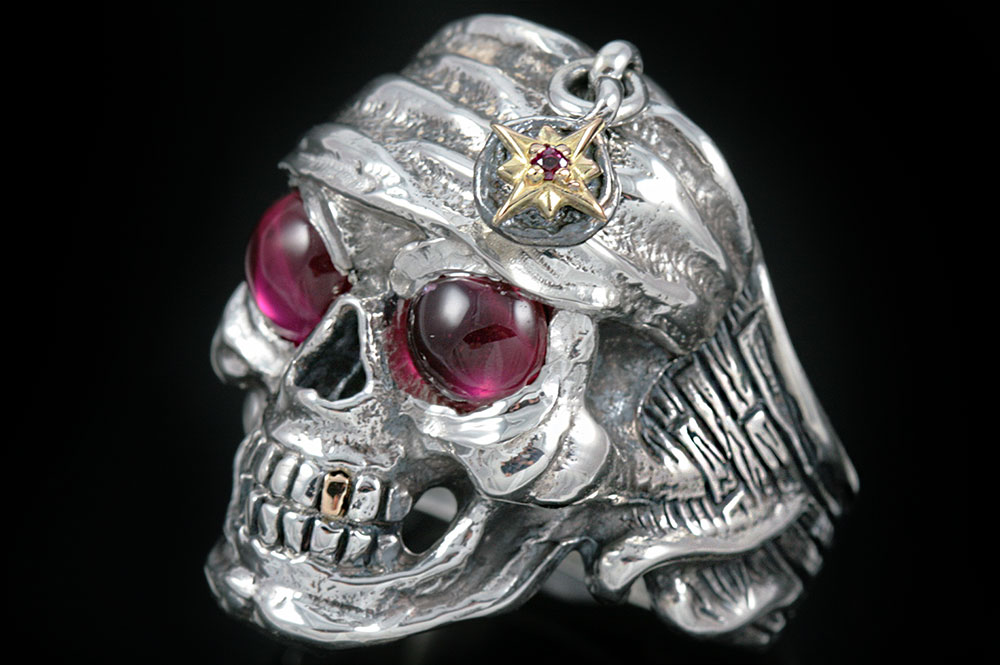 Pirate Skull Red Ruby Eyed Silver Ring MR-003H