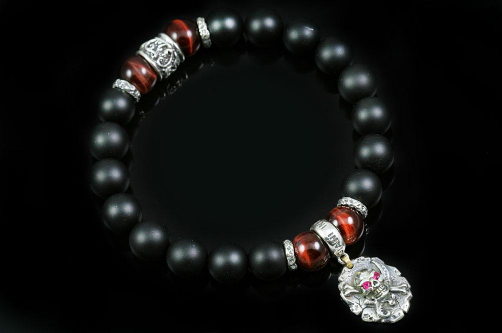Pirate Skull Sword & Bone 10mm Onyx & Red Tiger Eye Beaded Bracelet BB-086