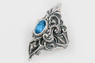 Queen Blue Topaz Baroque Long Oxidized Silver Ring LR-075T