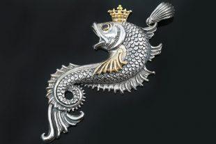 Queen Koi Fish 2 Tone Bronze & Silver Pendant PT-074