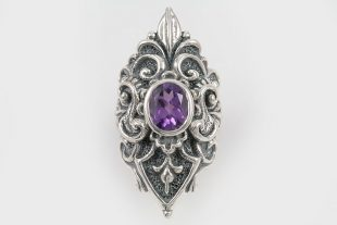 Queen Purple Amethyst Baroque Long Oxidized Silver Ring LR-075A