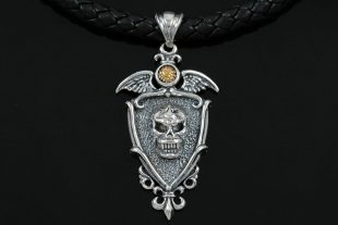 Raffil Skull on Winged Shield Silver Pendant PN-033