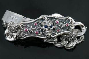 Rafill Gothic Maverick Sapphire Eyed Skull Luxurious Silver Bracelet BR-050