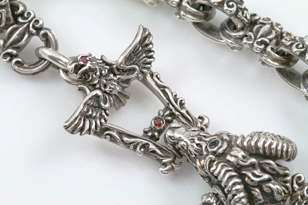 Ram Sterling Silver Bracelet With Eagle Closure BR-029