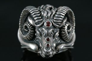 Ram Sterling Silver Ring with Rubies MR-050