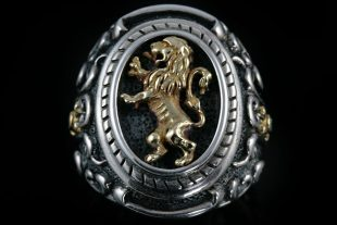 Rampant Gold Lion Heraldry Silver Ring MR-23G