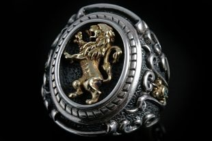 Rampant Gold Lion Heraldry Silver Ring MR-23G