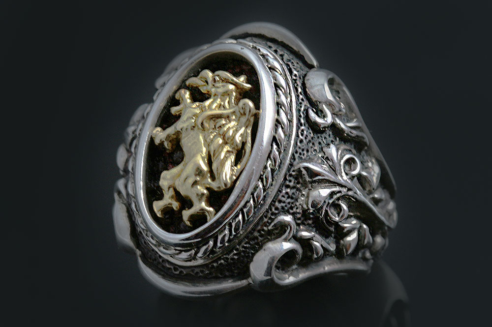 Rampant Griffin Baroque Style Silver and 18K Gold Two Tone Ring UR-071
