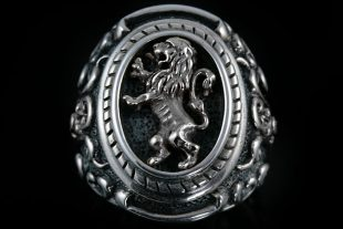 Rampant Silver Lion Heraldry Silver Ring MR-23S