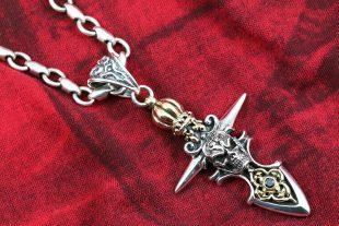 Rasputin Crown Skull & Arrows Silver Pendant PN-032