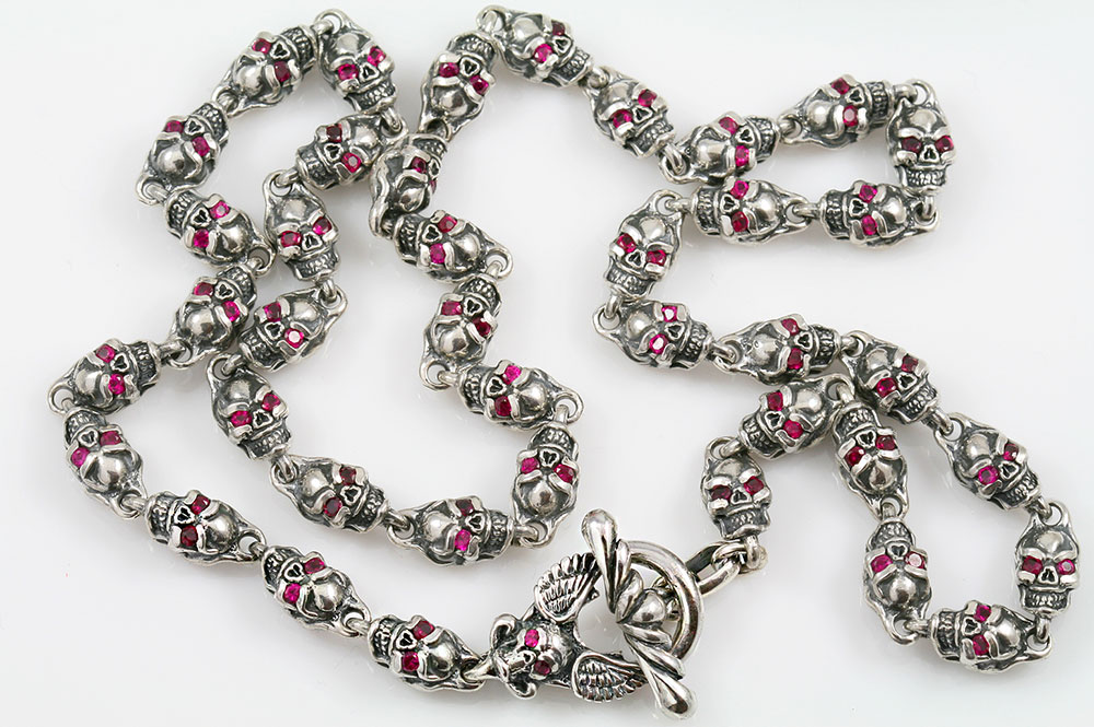 Red Ruby Eyed Skull Link Chain Silver Necklace NK-120