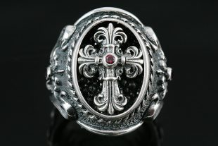 Renaissance Silver Cross Ring MR-028