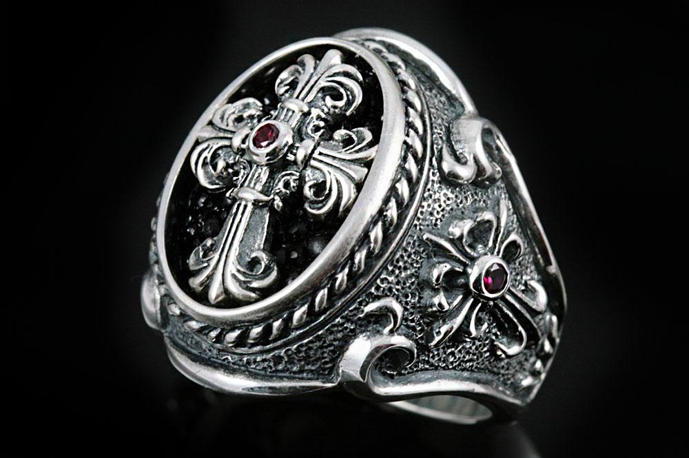 Renaissance Silver Cross Ring MR-028