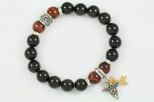 Right Direction 10mm Black Onyx and Red Tiger Eye Beaded Silver Bracelet BB-066