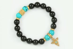 Right Direction 10mm Black Onyx and Turquoise Beaded 18k Gold Plated Silver Bracelet BB-067
