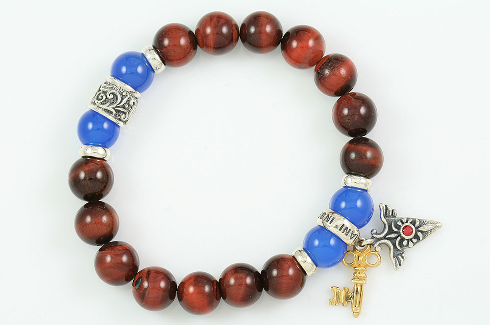 Right Direction 10mm Red Tiger Eye & Blue Agate Beaded Silver Bracelet BB-063