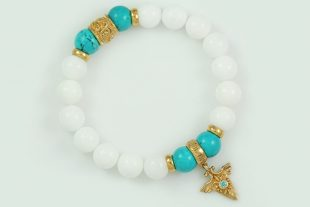 Right Direction 10mm White Jade and Turquoise Beaded 18k Gold Plated Silver Bracelet BB-069