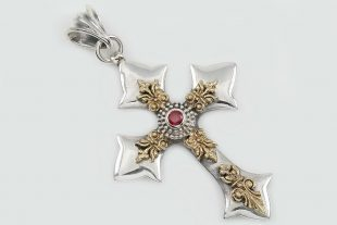 Ripsima Cross Natural Red Ruby Two Tone Silver Pendant PT-063