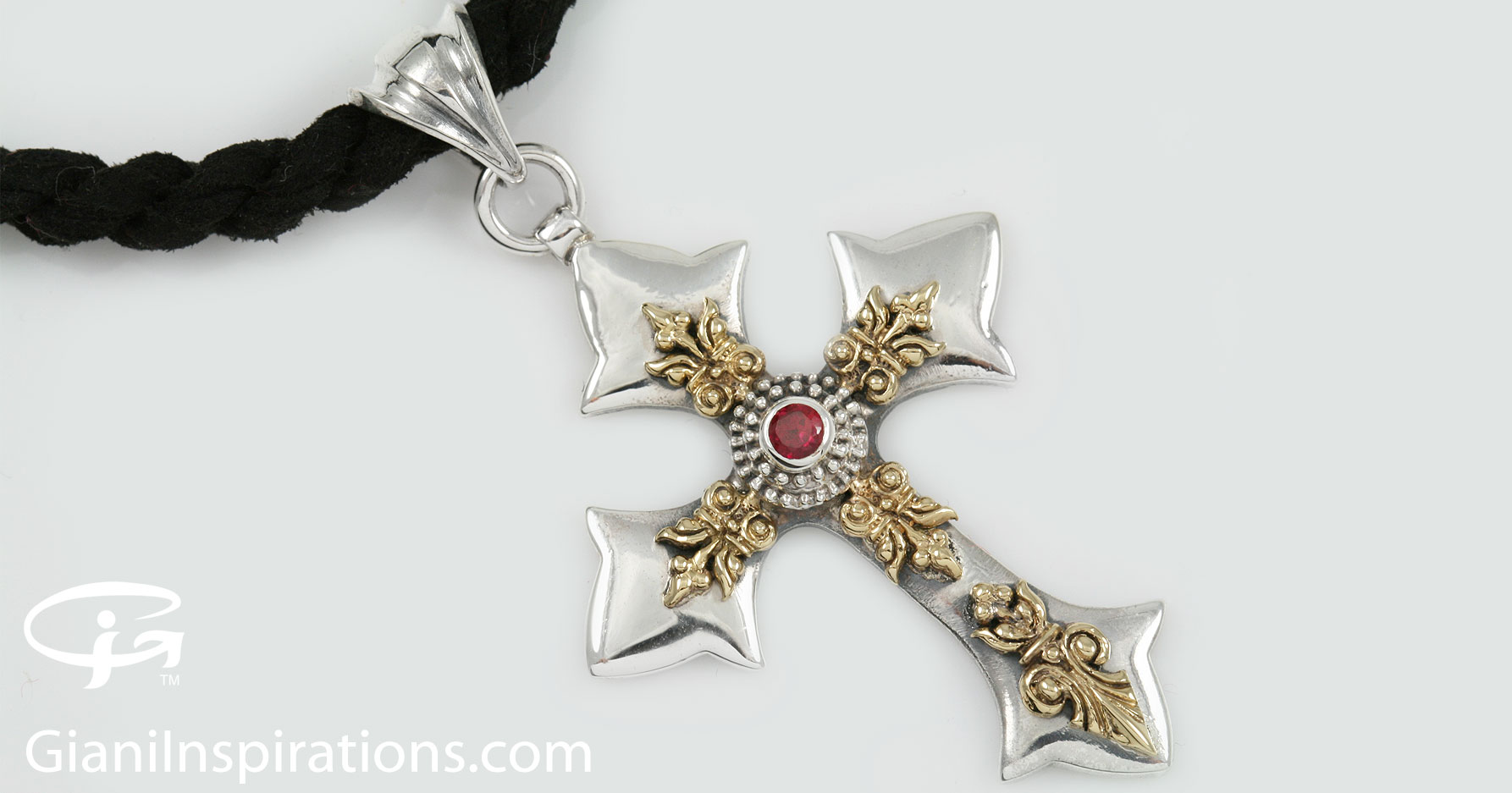 Ripsima cross natural red ruby two tone silver pendant pt 063 aloadofball Gallery