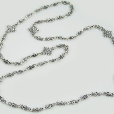 Roberta Natural Amethyst Silver Chain Necklace NK-122