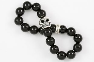 Robo Skull Silver 10mm Shiny Black Onyx Beaded Bracelet BB-057
