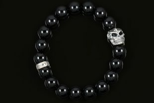 Robo Skull Silver 10mm Shiny Black Onyx Beaded Bracelet BB-057