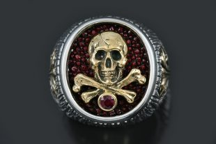 Roger Pirate Skull & Bones Stingray Skin Red Ruby Silver Ring UR-153