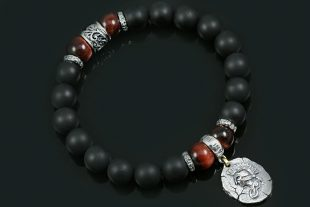 Roman Warrior 10mm Red Tiger Eye & Matte Black Onyx Beaded Silver Bracelet BB-060