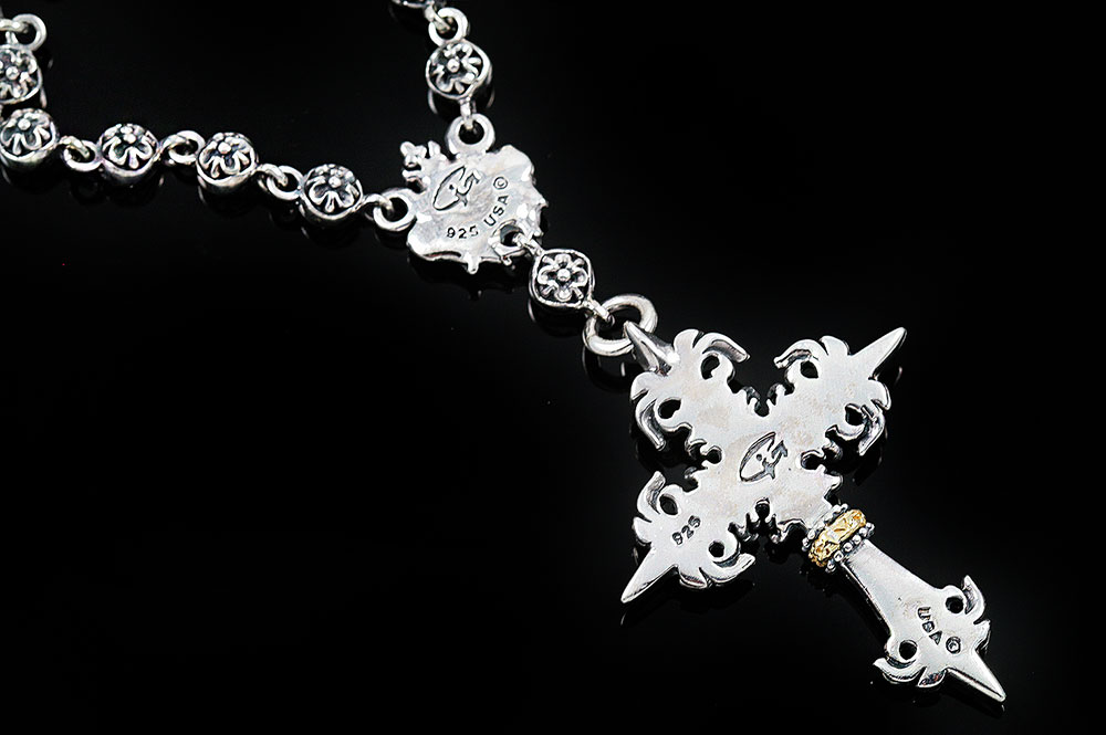 Rosary Silver Two Tone Gothic Cross Necklace with Chain N-006