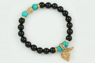 Rose Heart and Wing 8mm Black Onyx and Turquoise Beaded Silver Bracelet BB-070