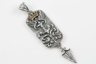 Royal Anchor Crown & Wings Silver Tag Pendant PT-092
