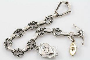 Royal Chain Heart & Cross Charm Silver Bracelet LBR-031