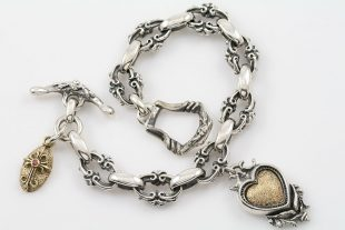 Royal Chain Heart & Cross Charm Silver Bracelet LBR-031