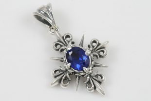 Royal Cross Fleur De Lis Blue Zircon Silver Pendant PT-109