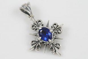 Royal Cross Fleur De Lis Blue Zircon Silver Pendant PT-109