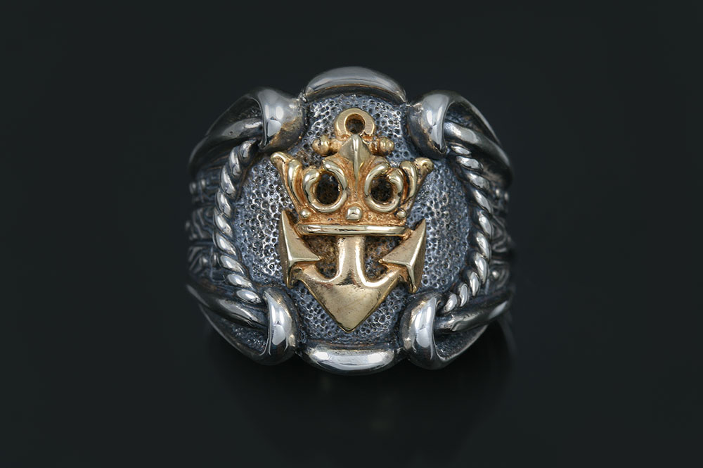 Royal Navy Emblem High End Oxidized Silver 2 Tone Ring MR-121