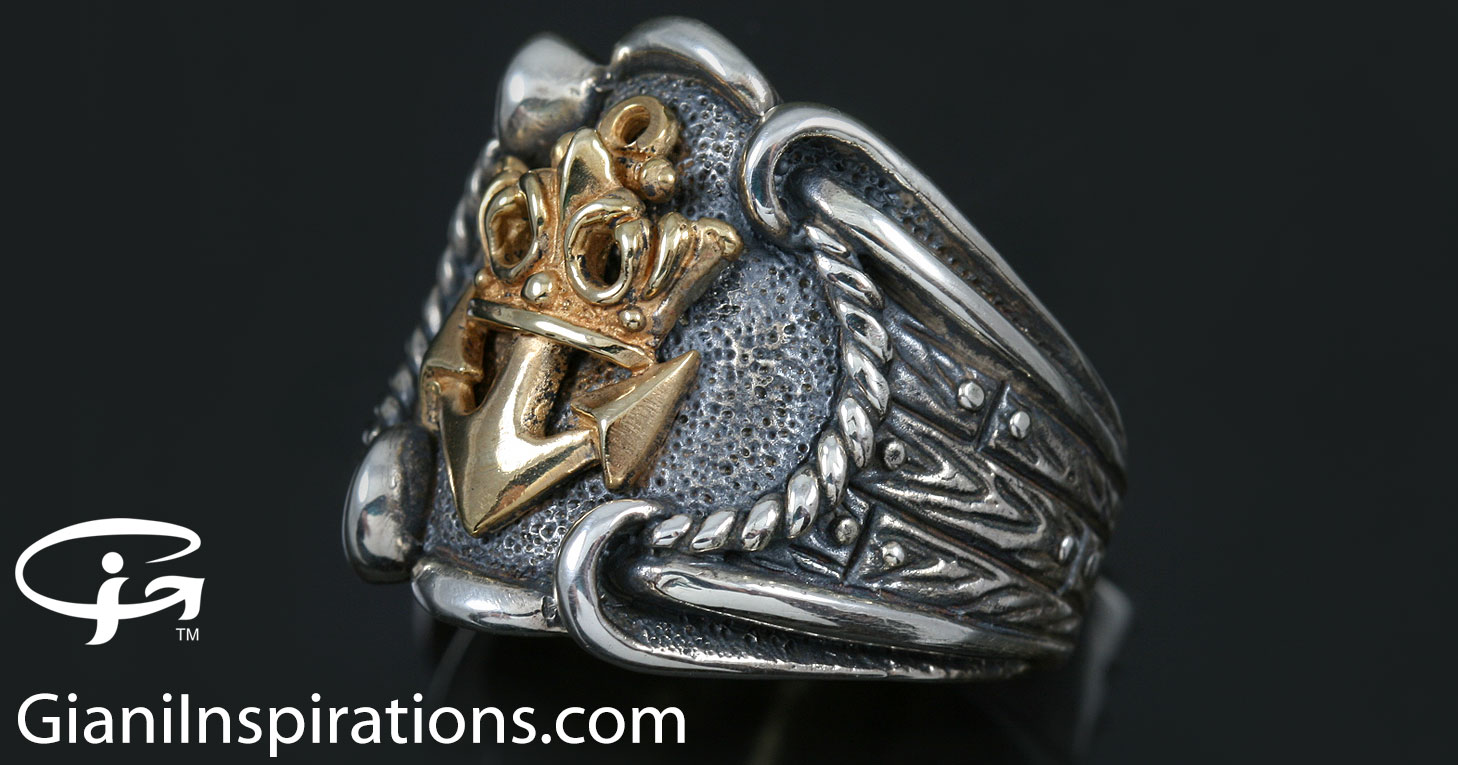 jewelry navy end soc jewellery oxidized ring royal mr high silver tone emblem