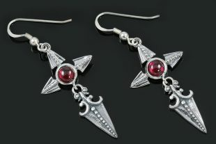 Ruby Cross Spearhead Arrow Drop Silver Earrings ER-018