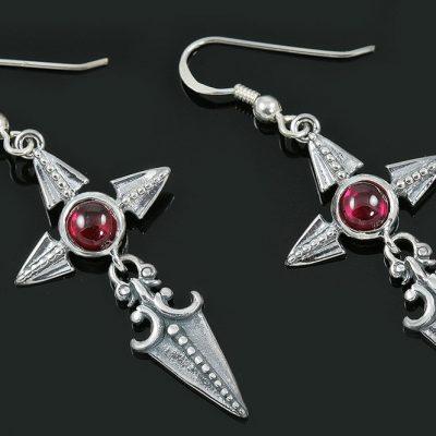 Ruby Cross Spearhead Arrow Drop Silver Earrings ER-018