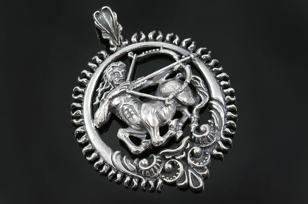 sagittarius zodiac greek mythological baroque silver pendant pt 014