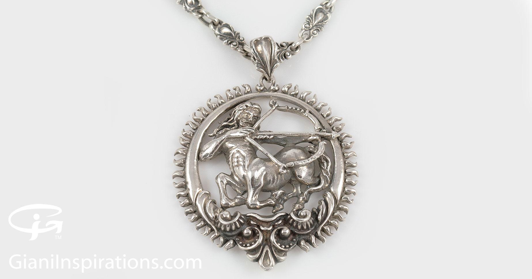 Sagittarius zodiac greek mythological baroque silver pendant pt 014 aloadofball Images