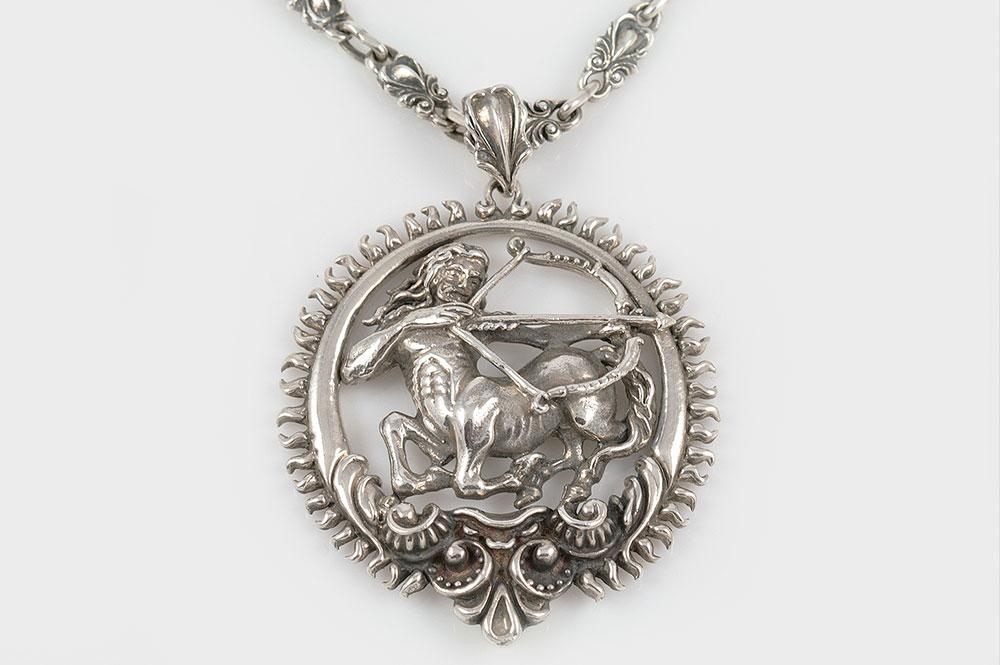 Sagittarius Zodiac Greek Mythological Baroque Silver Pendant PT-014